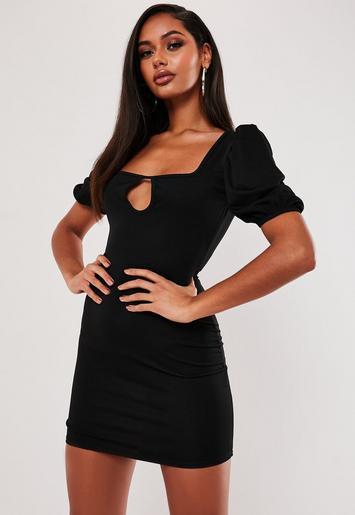 Black Puff Sleeve Keyhole Mini Dress by Missguided