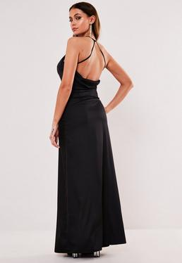 Czarna sukienka maxi na rami?czkach
