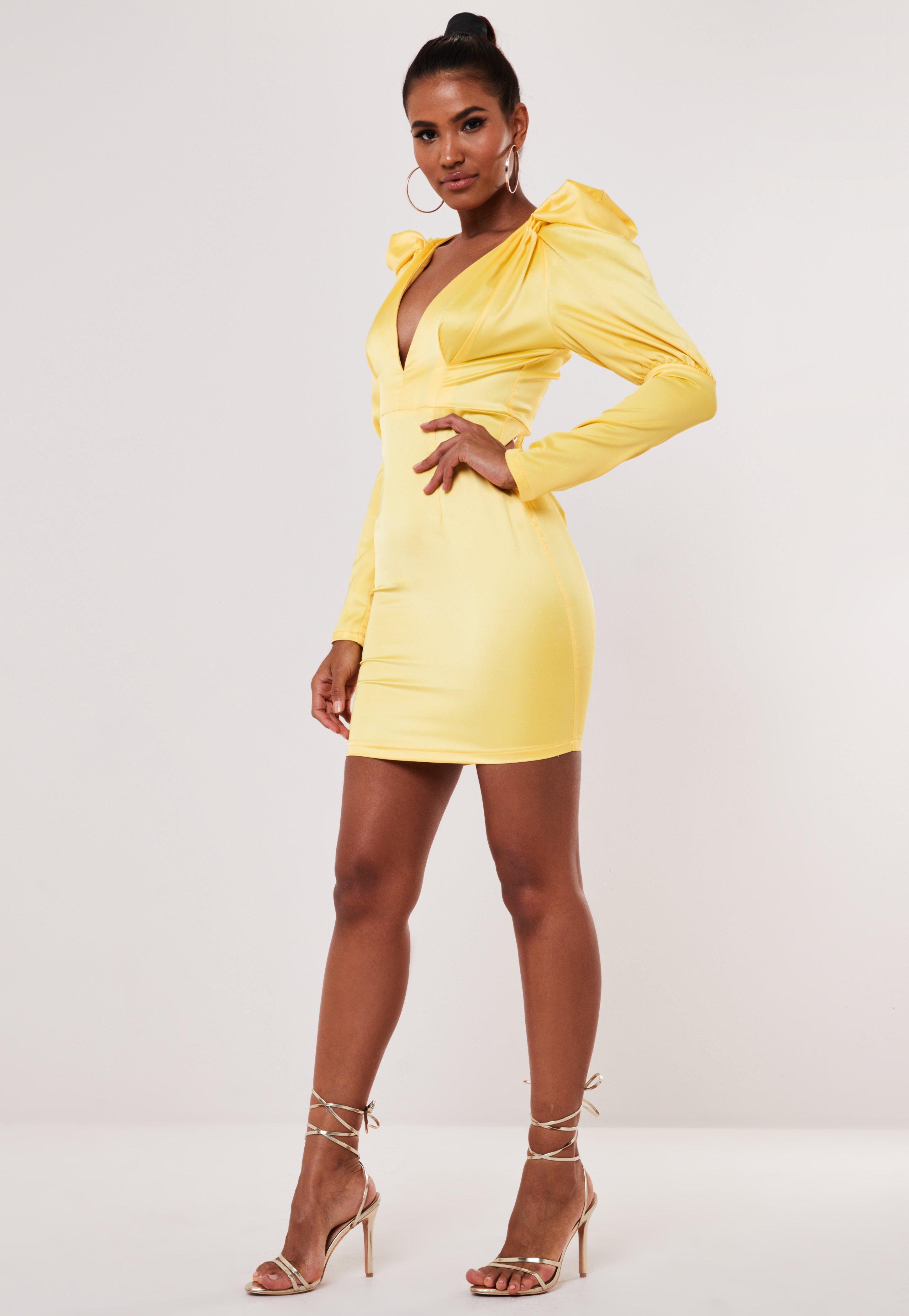 Yellow Satin V Neck Milkmaid Mini Dress