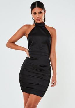 Black Satin Halterneck Ruched Mini Dress