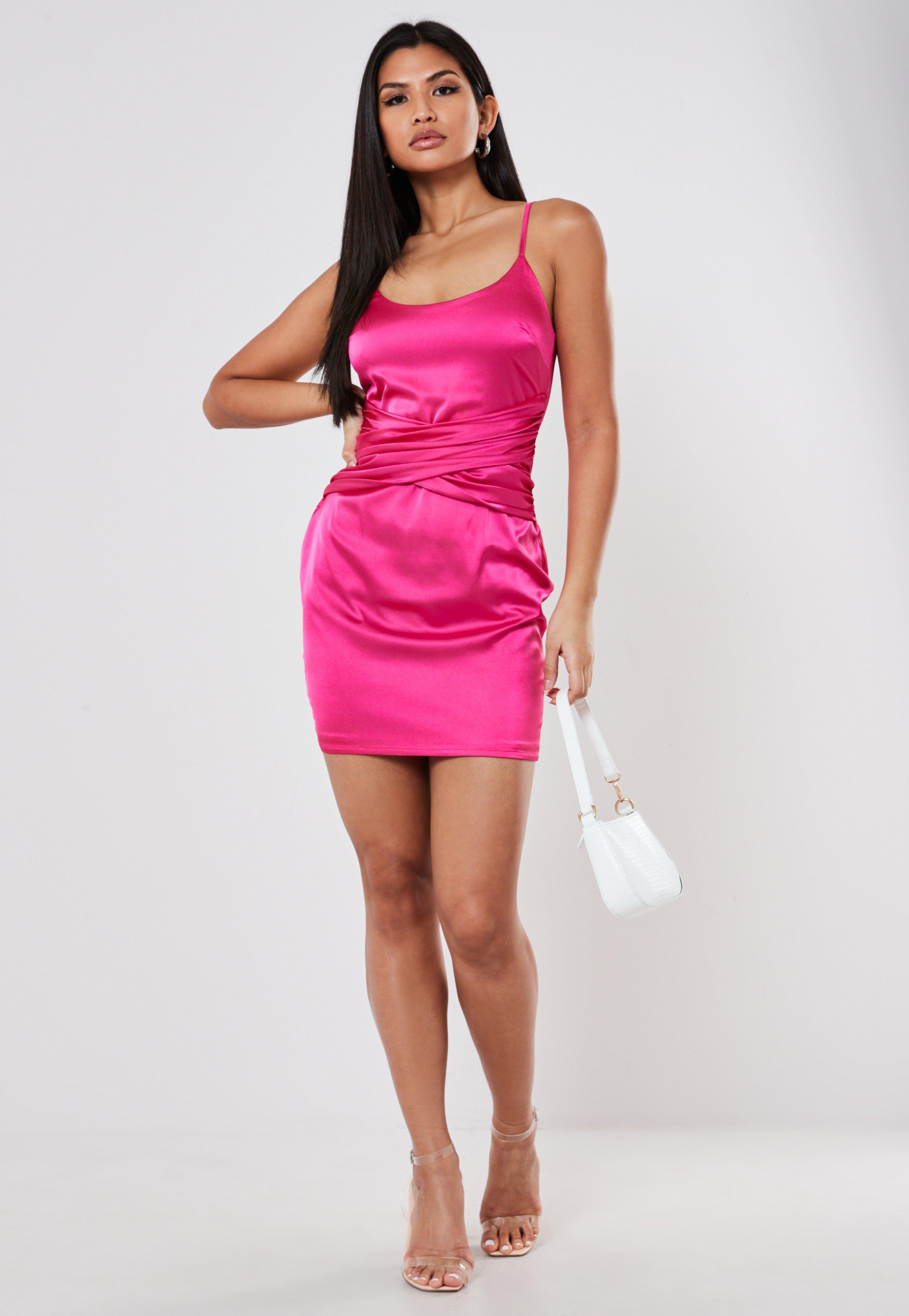 Pink Satin Drape Mini Dress | Missguided