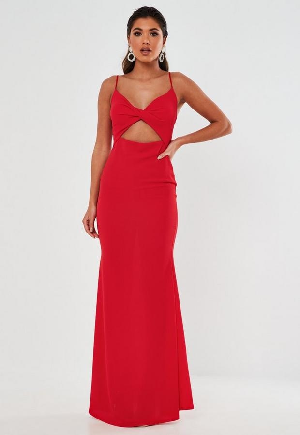 red twist front cut out maxi dress