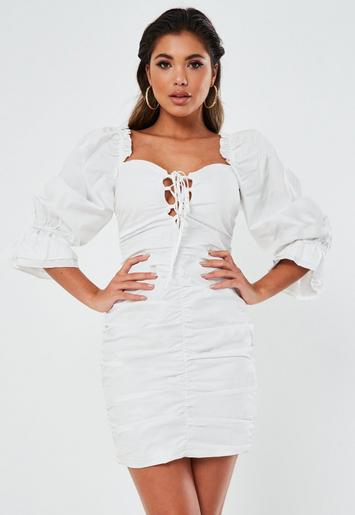 White Poplin Lace Up Puff Sleeve Mini Dress Missguided
