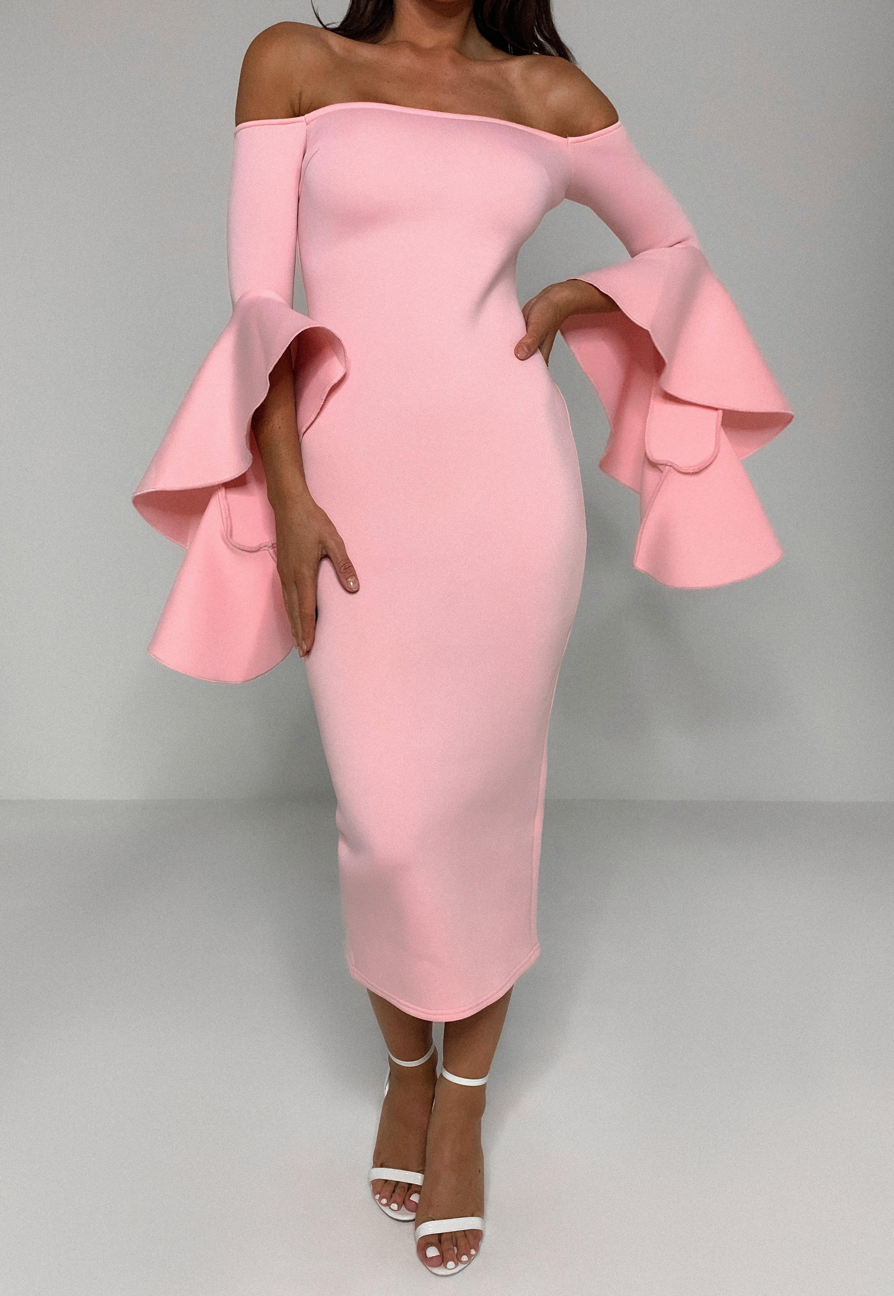 Scuba Bardot Kleid In Midi Lange Mit Ruschenarmeln In Rosa Missguided