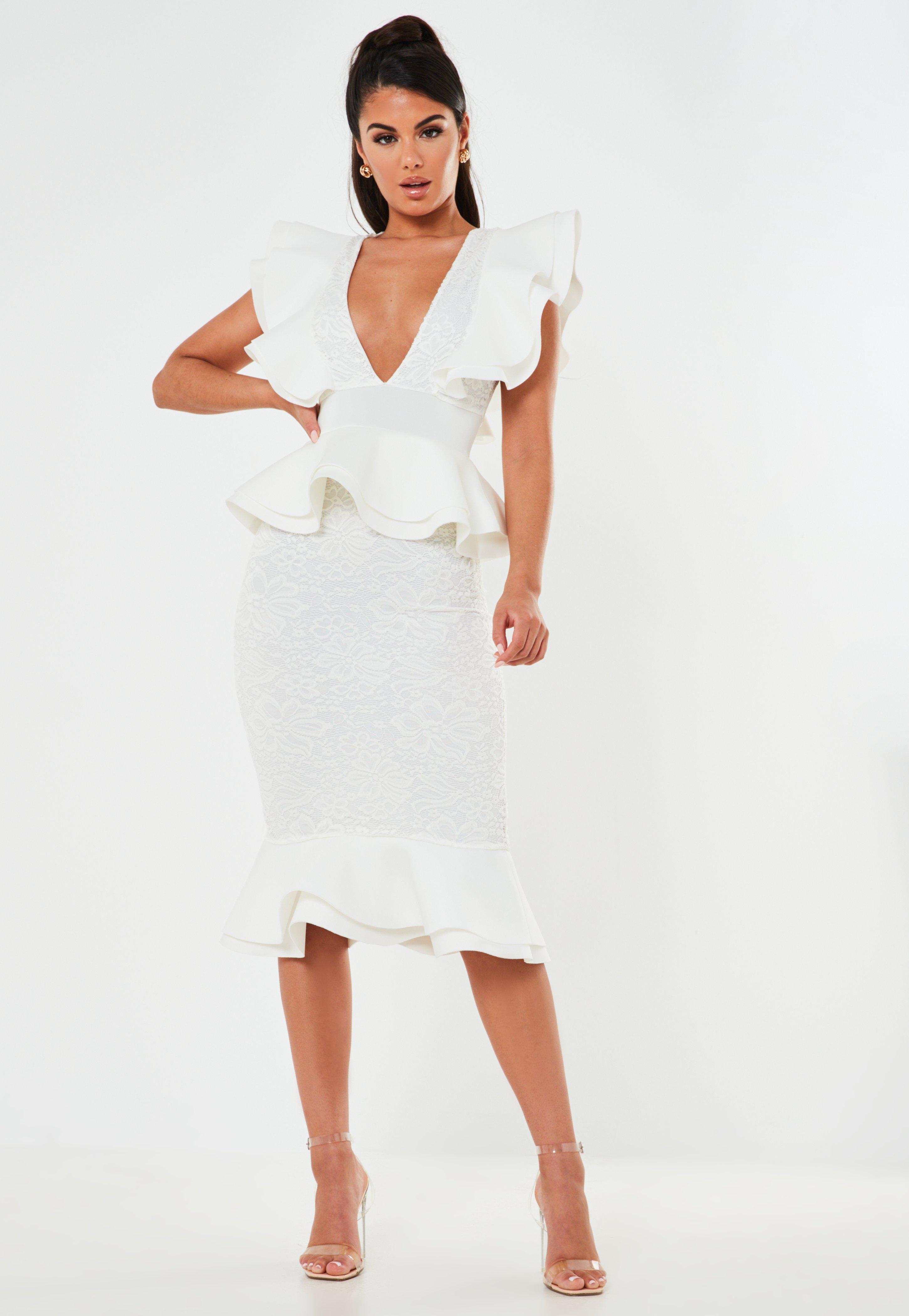 White Lace Ruffle Scuba Midi Dress