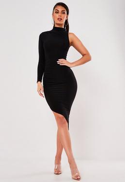 Black Slinky One Sleeve Midi Dress