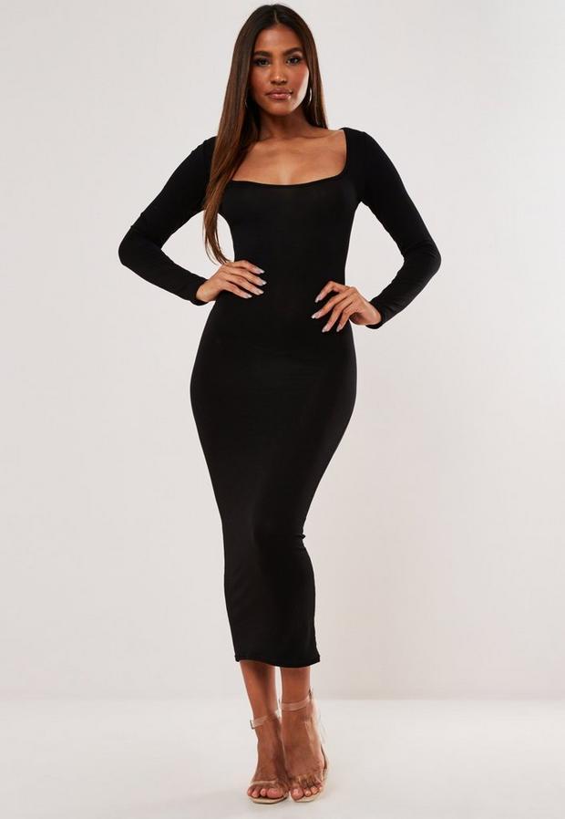 Robe mi-longue noire à encolure carrée et manches longues, Noir
