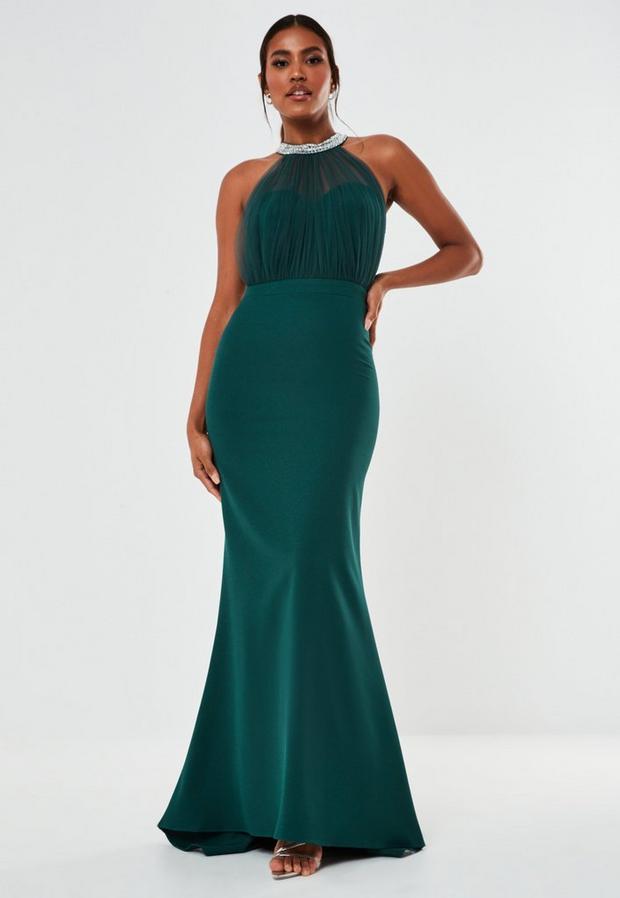 Diamante Organza Halterneck Maxi Bridesmaid Dress