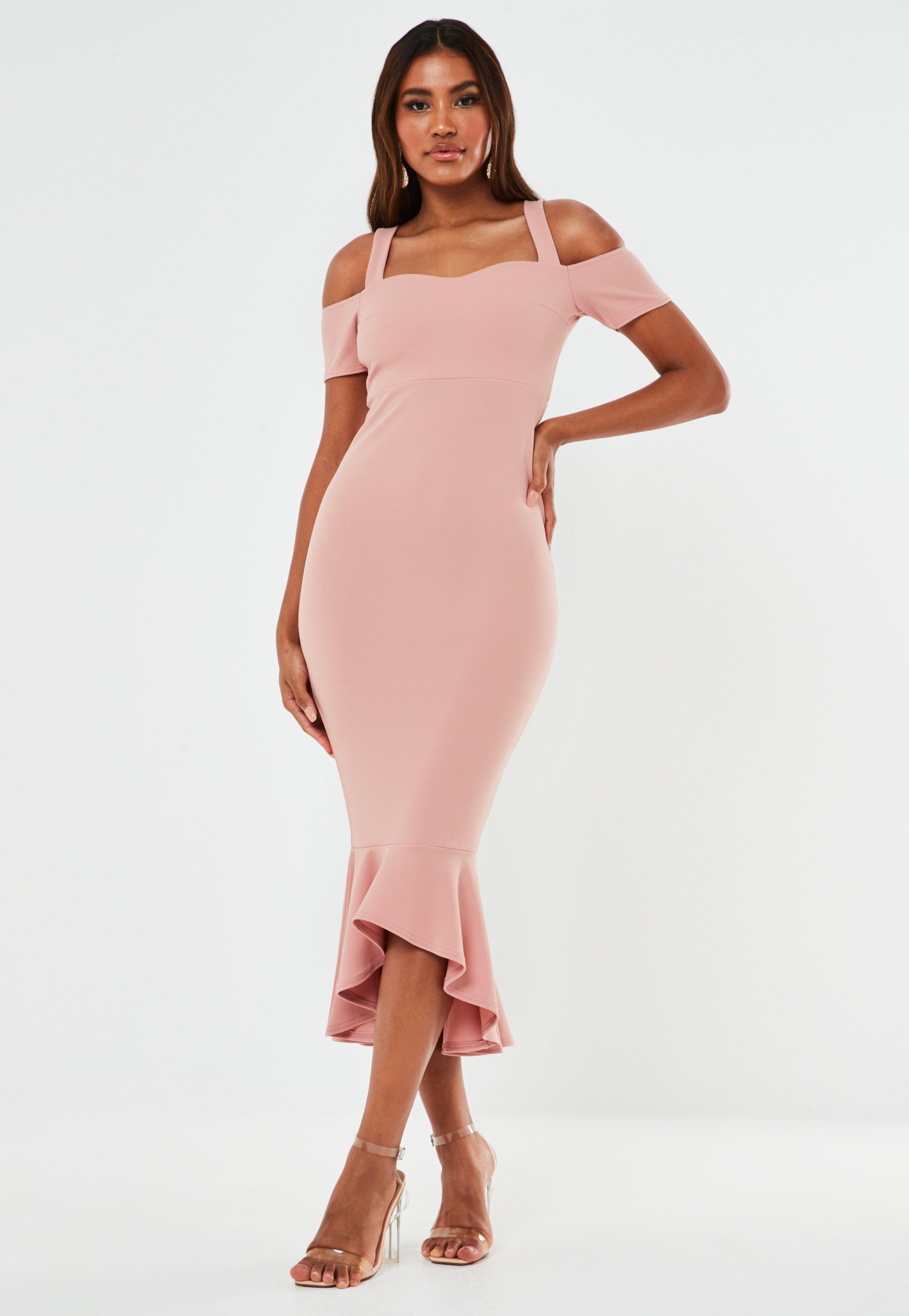 rosa midi bridesmaid kleid