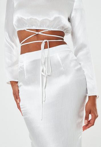 White Satin Wrap Belt Cut Out Maxi Wedding Dress Missguided
