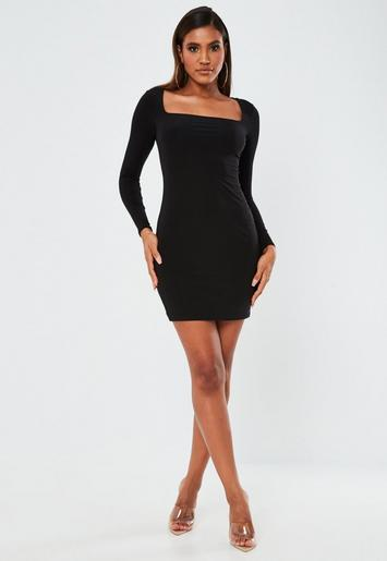Black slinky ruched front square neck bodycon dress sweater