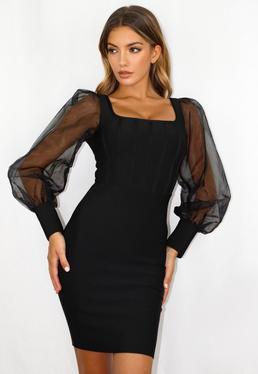 Vestido corto corsé de bandage con organza en negro