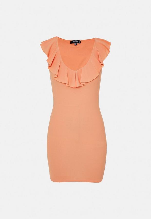peach ruffle plunge neck mini dress