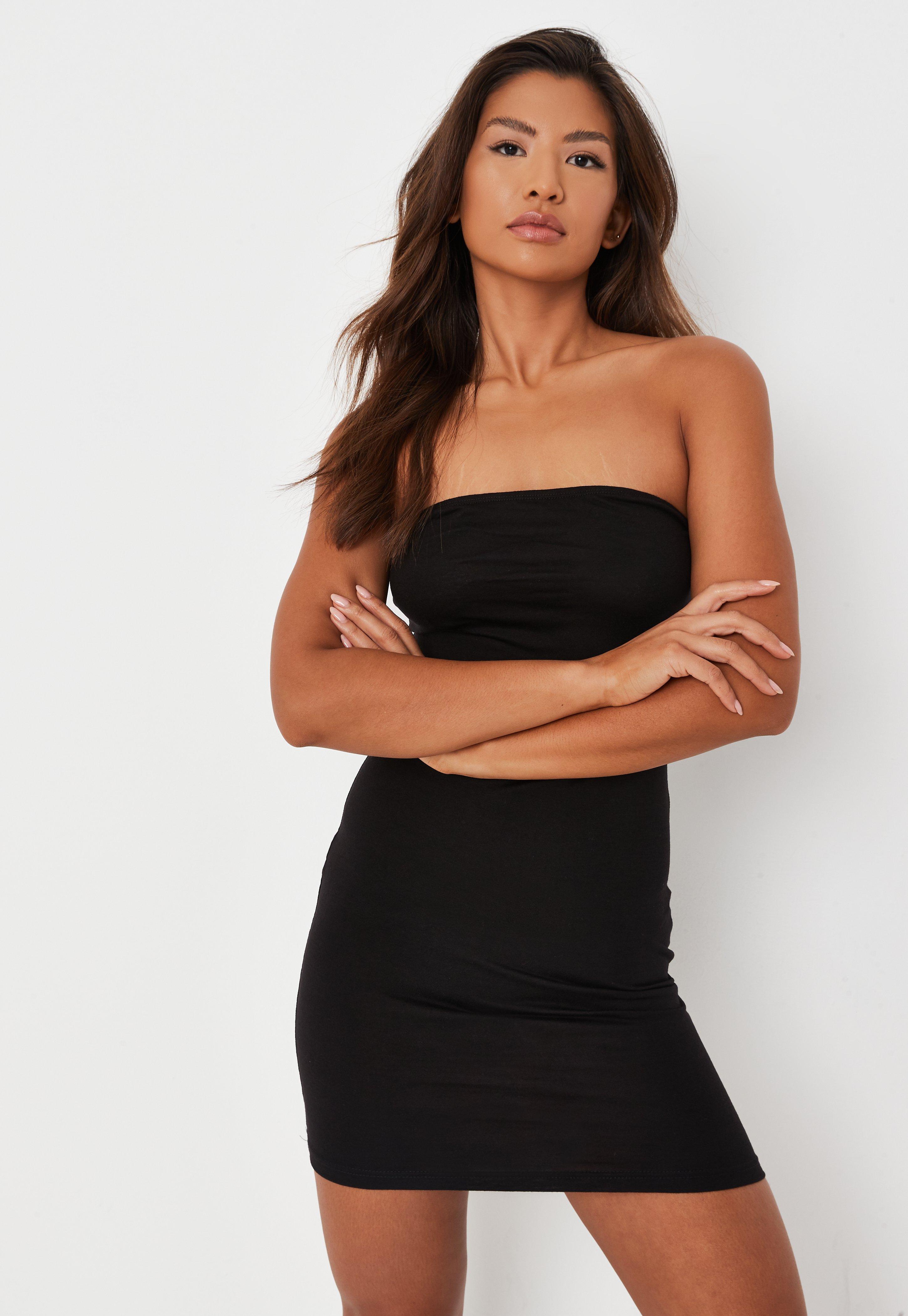 bandeau-minikleid aus jersey in schwarz