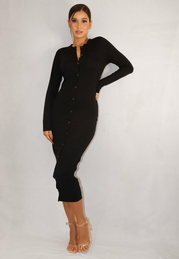 black button through bodycon midi dress