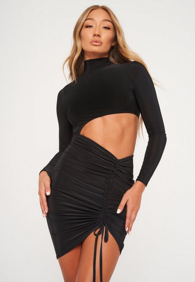 black slinky ruched cut out mini dress