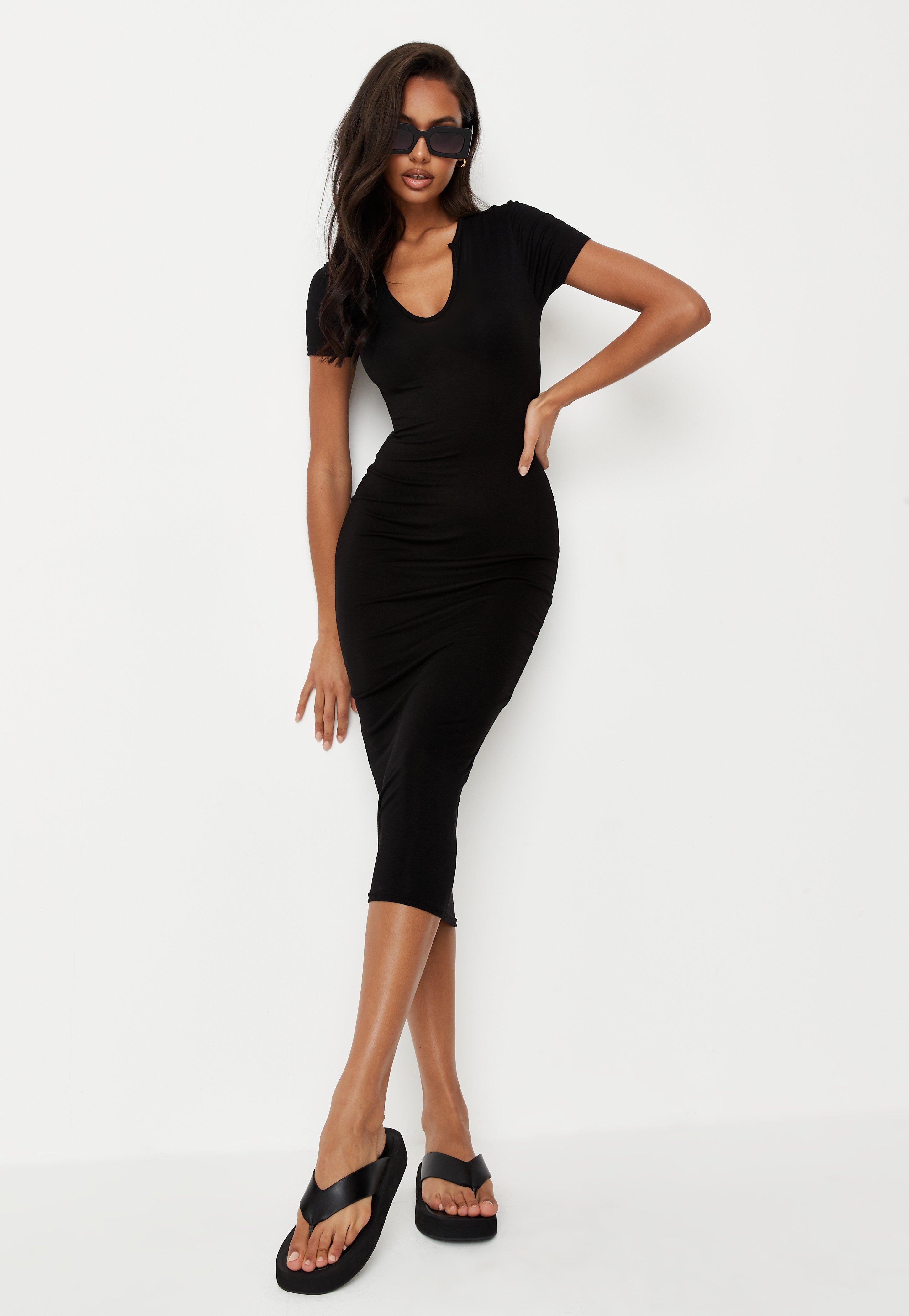 kurzärmeliges midaxi-kleid mit kerbausschnitt in schwarz