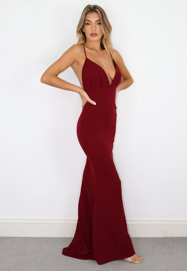 wine pleated bust maxi dress