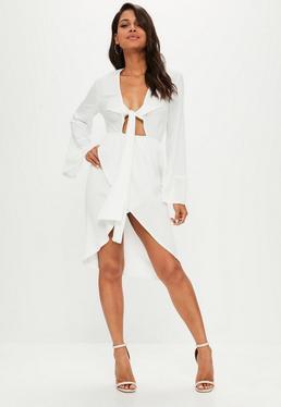 White Satin Plunge Knot Front Midi Shift Dress