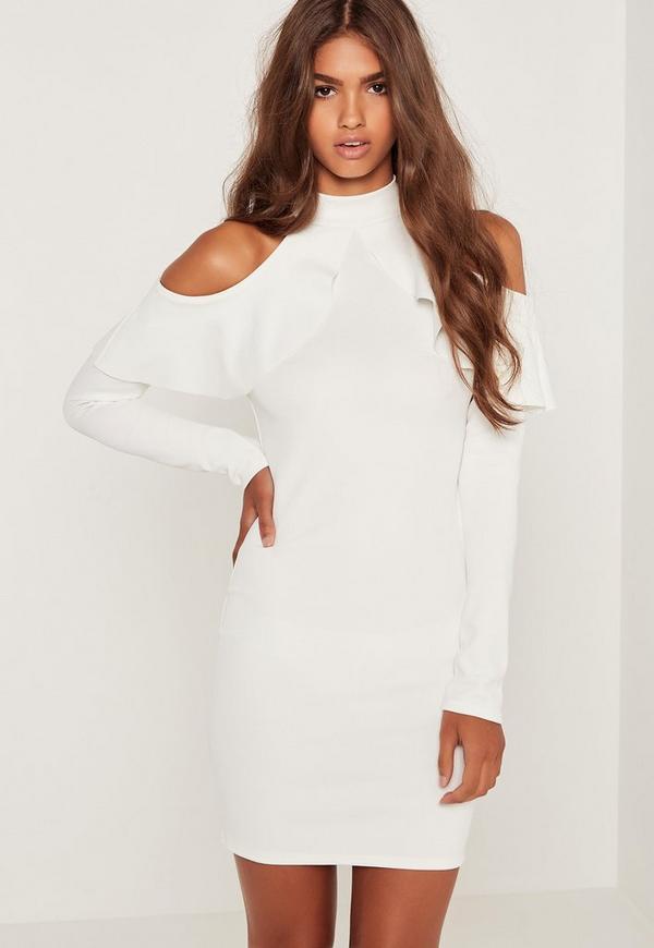 Frill Cold Shoulder Long Sleeve Dress White