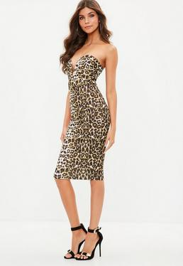 Brown Leopard Print Scuba Plunge Bandeau Midi Dress