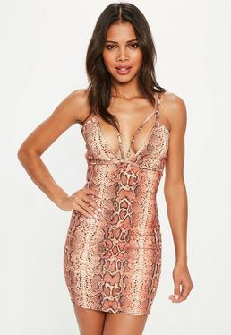 Orange Snake Print Mini Dress