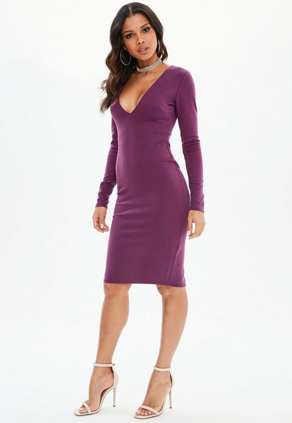 d61225aa77df ... Purple Ponte Long Sleeve Midi Dress. Previous Next