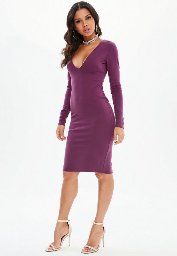 Missguided - Purple Ponte Long Sleeve Midi Dress, Purple - 1
