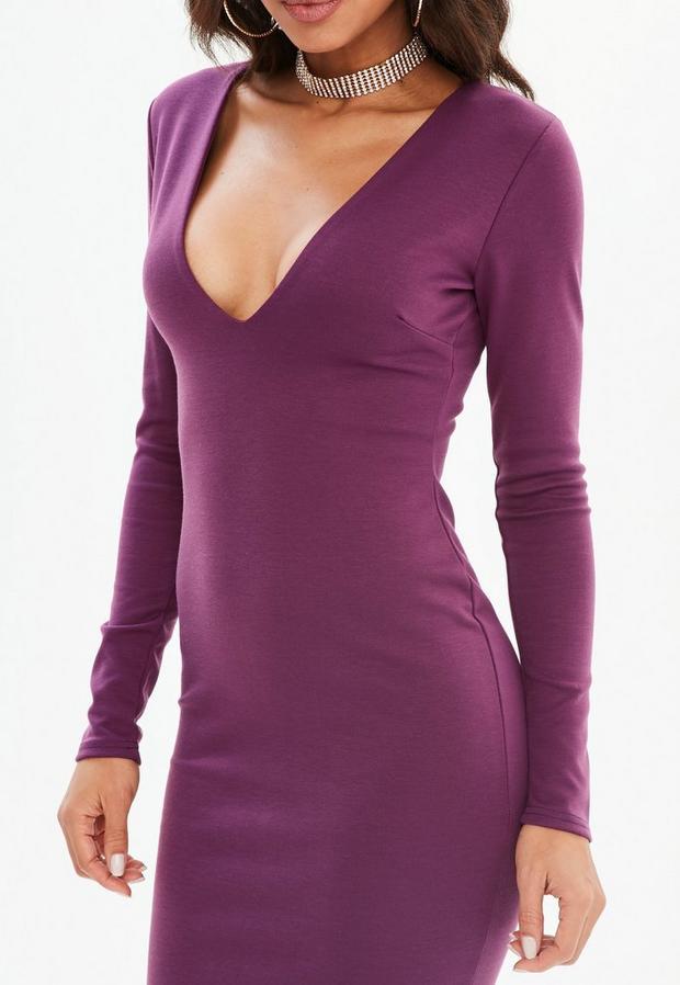 Missguided - Purple Ponte Long Sleeve Midi Dress, Purple - 3