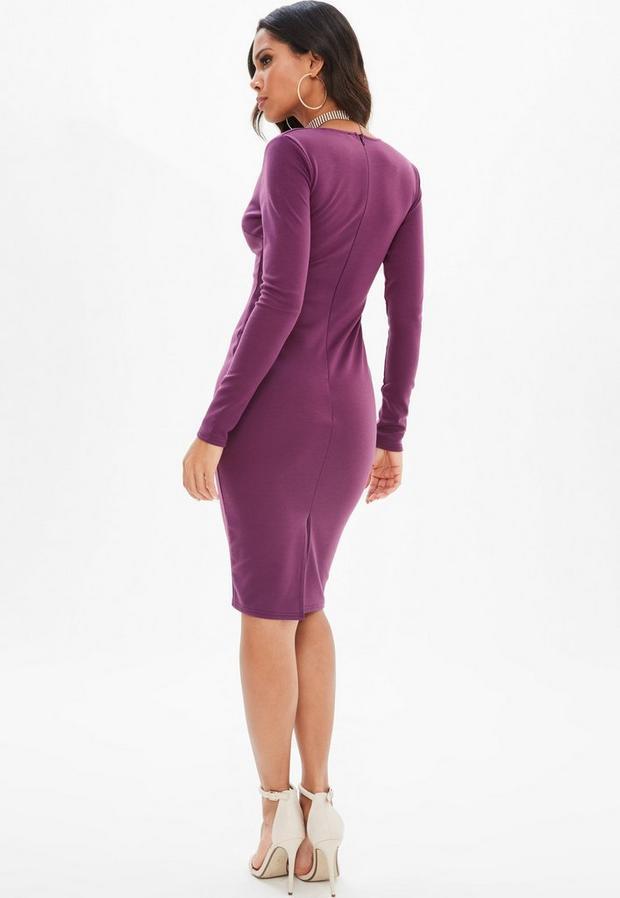 Missguided - Purple Ponte Long Sleeve Midi Dress, Purple - 4