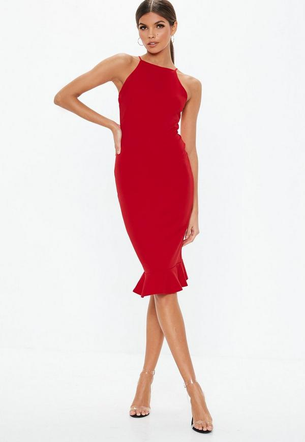 89eb5f48f2d2a Red Scuba Square Neck Frill Hem Bodycon Midi Dress