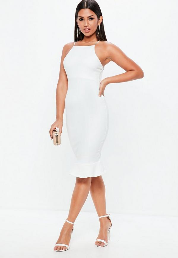 White Scuba Frill Hem Midi Dress