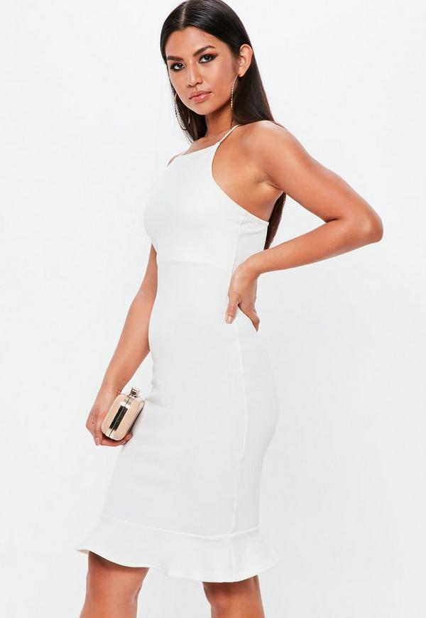 acc5e5c9431e8 ... White Stripe Scuba Frill Hem Midi Dress. Previous Next