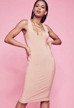 Pink Slinky Scooped Neck Double Layer Midi Dress