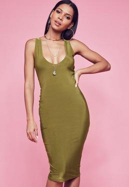 Khaki Slinky Scooped Neck Double Layer Midi Dress