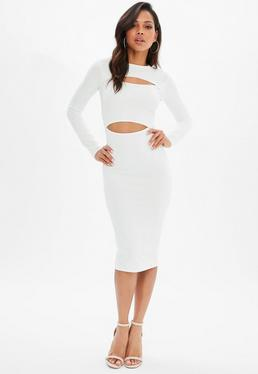White Stretch Crepe Long Sleeve Midi Dress