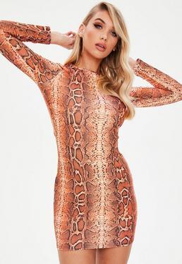 Orange Snake Print Bodycon Dress
