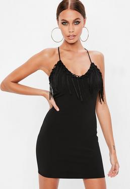 Black Plunge Tassel Cross Back Cami Bodycon Dress