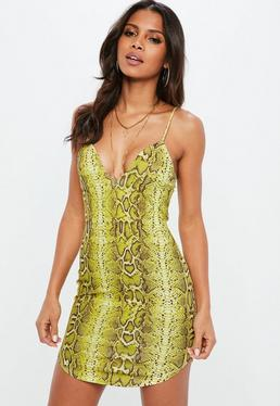 Żółta sukienka mini w wężowy wzór