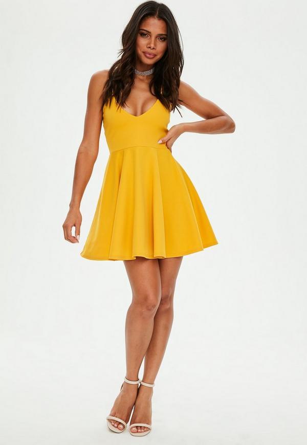 mustard yellow strappy skater dress missguided ireland
