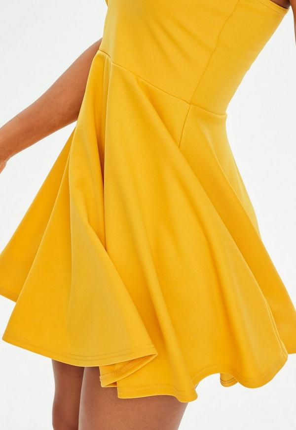 mustard yellow strappy skater dress missguided