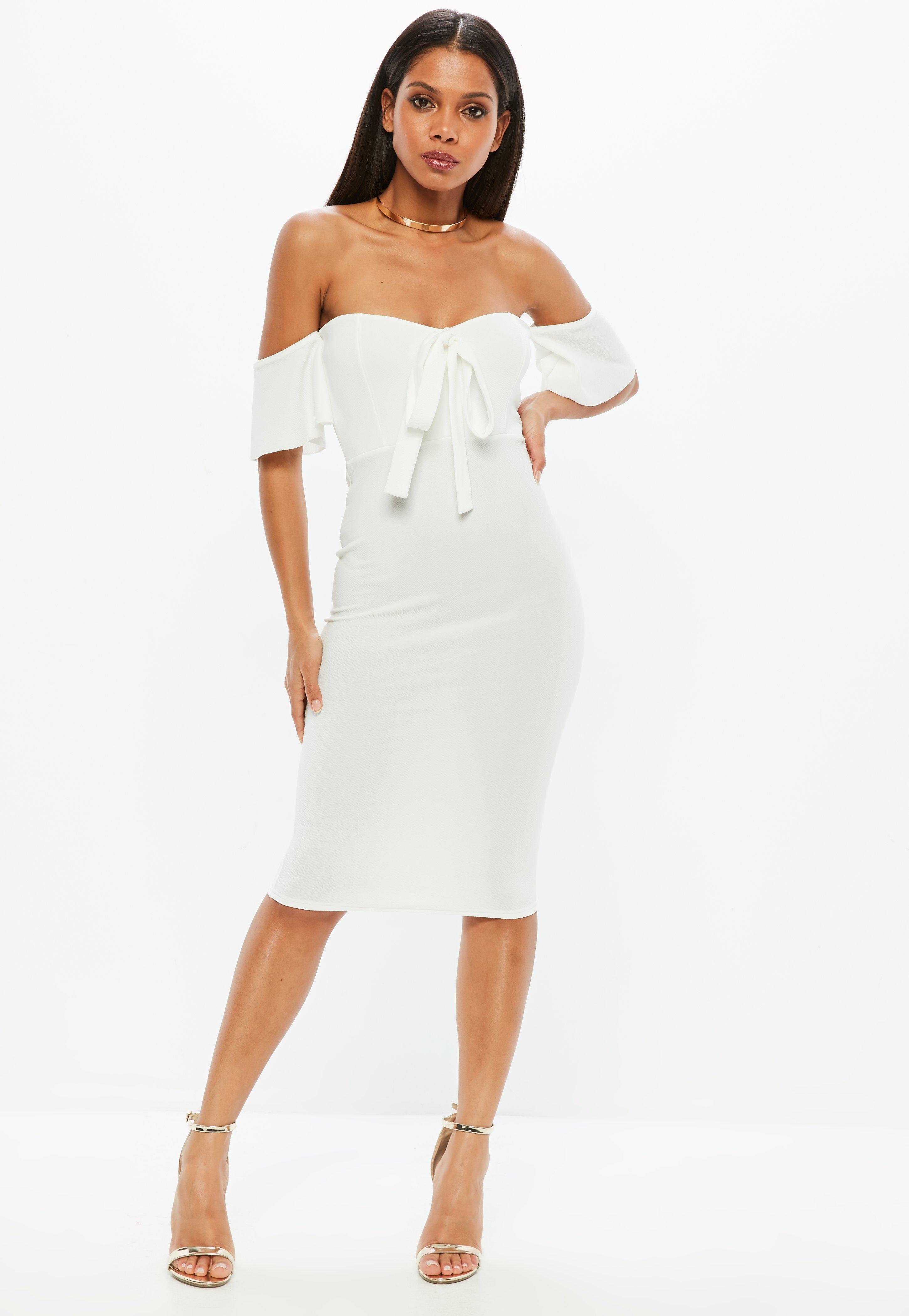 white crepe bardot dress missguided