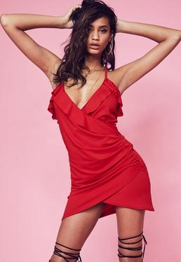 Red Stretch Strappy Plunge Frill Tea Dress