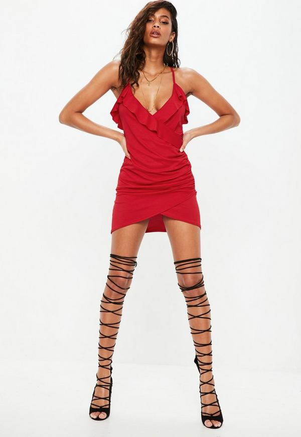 Red Stretch Strappy Plunge Frill Tea Dress by Missguided