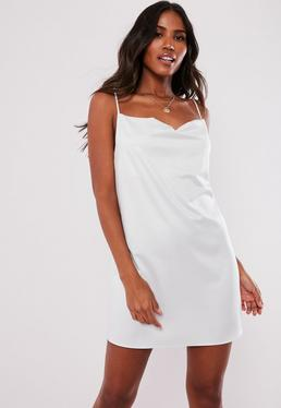 0dff9e01d89 Black Strappy Ribbed Mini Dress  White Satin Strappy Cowl Shift Dress