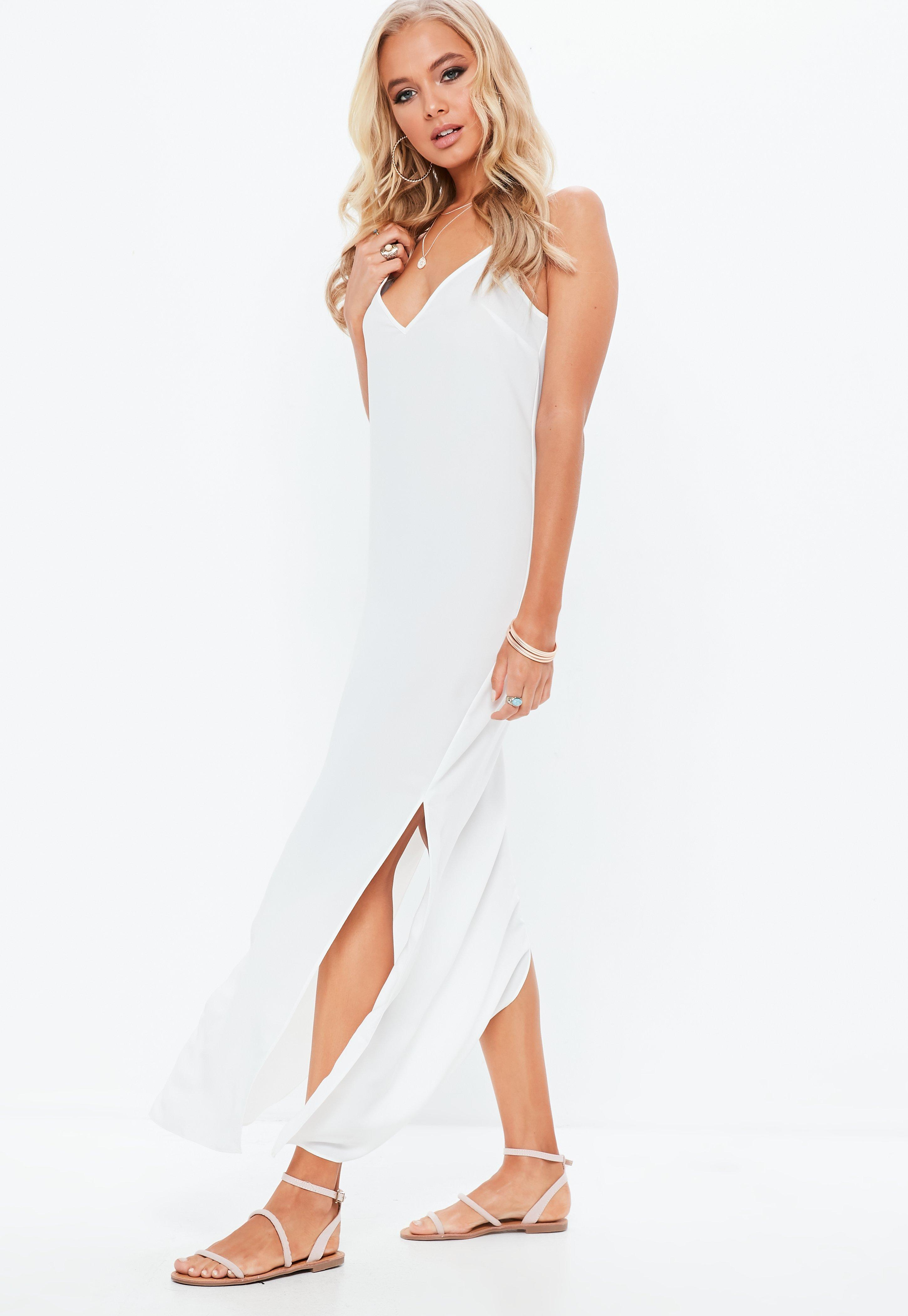 White Georgette Plunge Front Strappy Maxi Dress