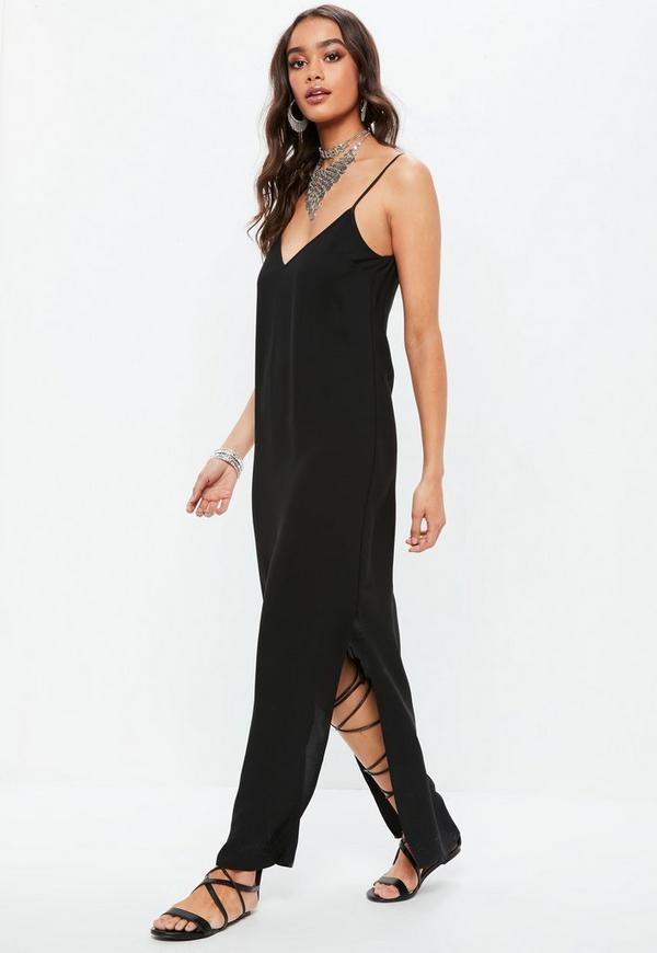 Black Plunge Strappy Maxi Dress by Missguided