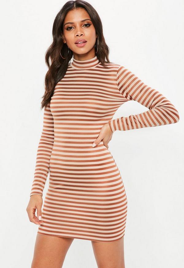 Nude Stripe Long Sleeve Bodycon Dress Missguided