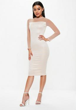 Pink Mesh Ponte Stripe Long Sleeve Dress
