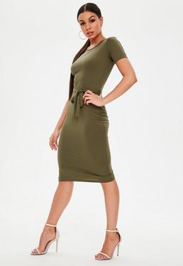 Dopasowana sukienka midi z wiązaniem w kolorze khaki